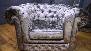 Chair Armchair Chesterfield Club Chair Armchair In Silver Grey Crushed Velvet
