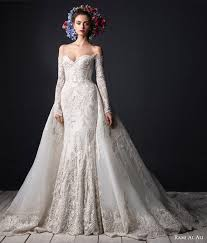 wedding dress with detachable luxury appliques sleeves lace mermaid wedding dresses