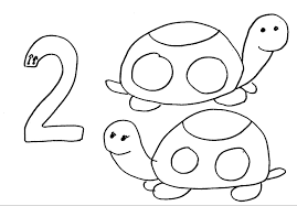 animal numbers two turtles coloring pages for kids fkt