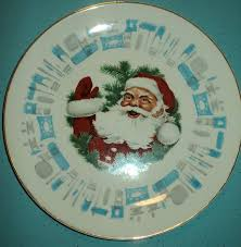 blue heaven plates with santa jesus jfk retro renovation