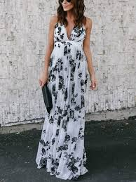 summer maxi dresses white summer maxi dresses floral printed backless v neck floor