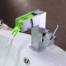 Chrome Bathroom Fixtures Led Waterfall Brass Chrome Bathroom Sink Faucet At Faucetsdeal