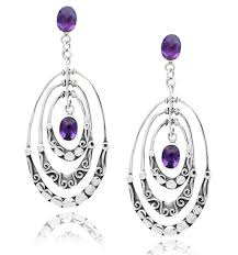 amethyst drop earrings stering silver textured oval amethyst drop earrings