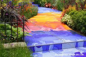 decorative tile garden path ideas