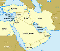 middle east map and capitals near east middle east