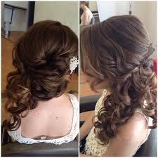 bridal wedding side swept updo side ponytail curly