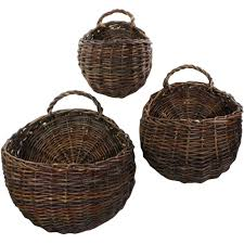 wall mounted storage baskets set of 3 in wicker baskets