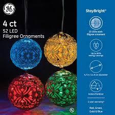 ge 4ct 52 led filigree ornaments mixed color set walmart