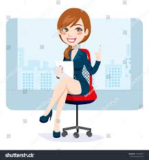 Office Chair Clipart Beautiful Brunette Woman Sitting On Office Stock Illustration