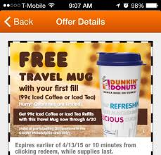 travel coupons images Free dunkin donuts travel mug 99 refills back again ftm jpg
