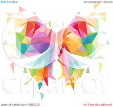clipart of a colorful geometric butterfly royalty free vector