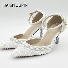 schuhe f r hochzeit 2017 frühling kristall sandalen braut elegante prinzessin perle