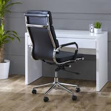 geo glass small clear glass desk high back eames