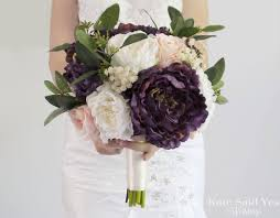 peony bouquet rustic plum blush and ivory peony bouquet silk wedding bouquet