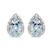 aquamarine stud earrings pear aquamarine and diamond stud earrings 14k white gold 1 20ct