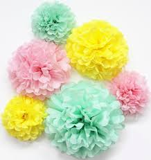 6pcs yellow pink mint tissue paper pom poms wedding decorations