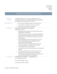 Sample Of Resume For Teachers Autism Teacher Resume Samples And Templates