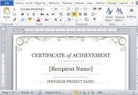 word template certificate of achievement certificate of