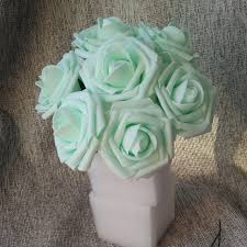 Wholesale Floral Centerpieces by Aliexpress Com Buy Mint Roses Artificial Flowers 100 Heads For