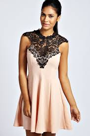 boohoo clothes leanne crochet top skater dress at boohoo dressed to impress
