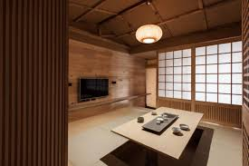 Traditional Japanese Bedroom Furniture - hidden dining table in the japanes style room with bamboo lamp