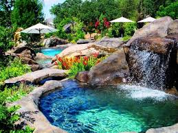 swimming pool beautiful pool waterfall with decorative rock garden