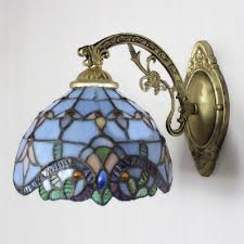 Wall Sconce With Pull Chain Switch Blue Baroque Stained Glass Tiffany One Light Wall Sconce With Pull