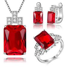 earring necklace set images J mosuya 925 sterling silver plated jewelry set for women jpg