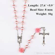 necklace rosary beads images Wholesale pink rosary beads catholic rosary necklace for girls jpg
