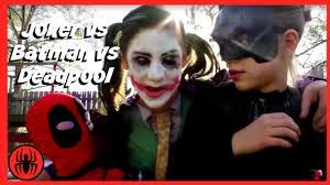 Real Life Halloween Costumes Little Heroes Joker Vs Joker Vs Batman Vs Deadpool Superheros In