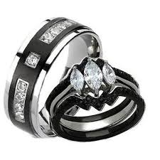 black wedding rings his and hers his hers black stainless steel titanium wedding ring set edwin