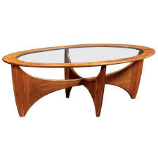 Teak Coffee Table Oval Teak Coffee Table With Glass Top From G Plan 1960s For Sale