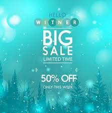 sale banner blue bokeh background falling snow decor free vector