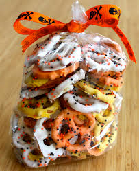 candy corn themed chocolate covered pretzels treats halloween