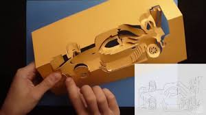 Free Kirigami Card Templates Race Car Kirigami Pop Up Card Tutorial Free Patern Youtube