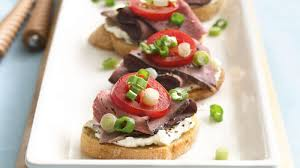 beef canape recipes roast beef bruschetta recipe bettycrocker com