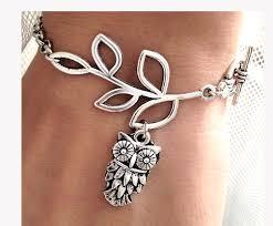 flower girl charm bracelet silver leaf branch owl charm bracelet chain bracelet leaf