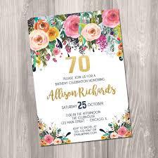 70th birthday invitation for women female surprise invite