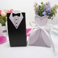 wedding party favors 50pcs bridal gift cases groom tuxedo dress gown ribbon wedding