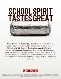 chipotle fundraiser for cypress junction montessori cypress