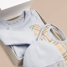 Baby Gift Sets Check Cotton Three Piece Baby Gift Set In Ice Blue Burberry