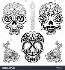 zentangle stylized patterned skulls set candle stock vector