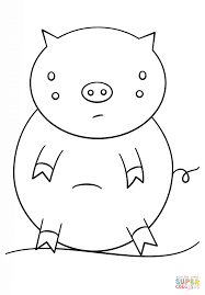 kawaii pig coloring page free printable coloring pages
