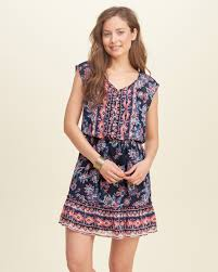 Hollister Clothes For Girls Hollister Crepe Lace Up Dress In Blue Lyst