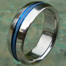 thin line wedding ring blue titanium wedding band or promise ring b16 shown 6 and