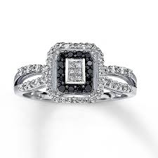 engagement rings with black diamonds black ring princess cut 10k white gold