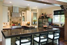wonderful kitchen design with wooden kitchen island with black