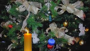 tree with blinking lights golden ribbons ornaments and