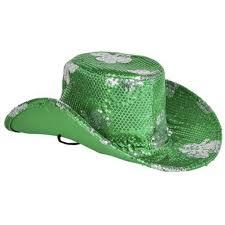 Shamrock Green St Patrick U0027s Day Irish Green Shamrock Sequin Cowboy Hat