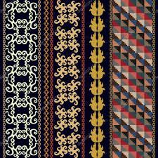 set of bohemian borders with peruvian motifs scrolls